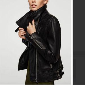 MANGO Leather biker jacket Black